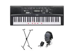 Yamaha EZ-220 Lighted Digital Keyboard with Lighted Piano Keys+Stand+Adapter+HDP NEW