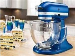 KitchenAid KSM155GBEB Artisan Design Series 5-Quart Tilt-Head Stand Mixer with Glass Bowl Electric Blue