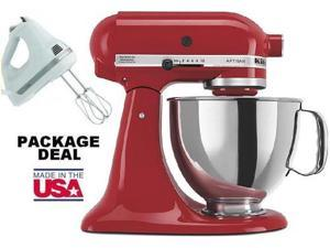 Kitchenaid Stand Mixer tilt 5-Quart ksm150pser Artisan Red + Free Hand Mixer NEW