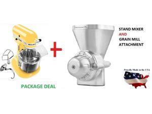 New Kitchenaid stand mixer 5-QT 450-W Kv25gOXqbf AND KGMA Grain Mill Attachment