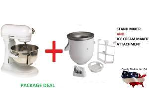 New Kitchenaid stand mixer 5-QT KV25GOXww AND KICA Ice Cream Maker Kit KICAOWH