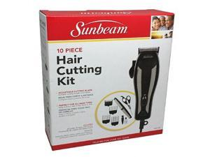 Sunbeam 10 Piece Hair Clipper Cutting Kit With Adjustable Cutting Blade