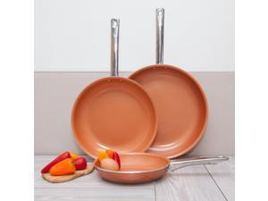 "Healthy Nonstick Ceramic Coated Frying Pan - 3 Pcs Eco Friendly Durable Fry Pan Cookware Set (8"", 10"" & 12"" Pans) (Copper Stainless Steel)"