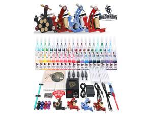 Complete Tattoo Kit TOP Machines Gun color Inks Power supply needles set D82DH
