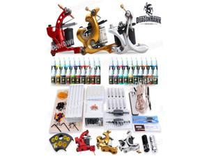 New Complete Tattoo Kit Machines Gun color Inks Power supply needles set D186-1
