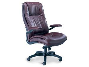 Leather High Back Chair in Burgundy