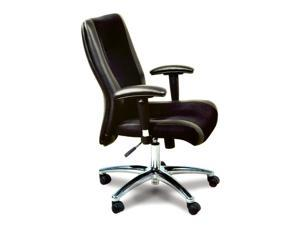 Black Leather & Mesh Upholstered Conference Chair w Metal