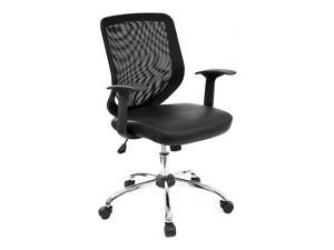 Mesh Back Office Chair w Leather Seat in Black