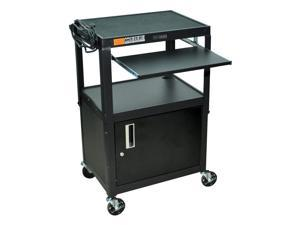 Adjustable AV Cart w Locking Cabinet in Black