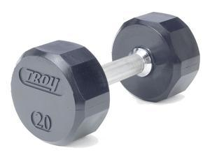 Troy Rubberized Dumbbell w Textured Chrome Handle (90 lbs.)
