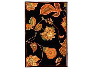 Black & Orange Jacobean Style Rug (2 ft. 6 in. x 8 ft. Runner)