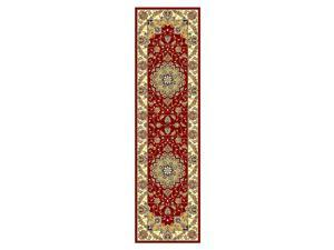 Red Floral Rug with Border (2 ft. 3 in. x 14 ft.)