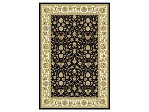 "Lyndhurst Traditional Black Floral Rug (5'-3"" ft. Round)"