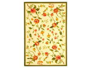 Ivory Floral Rug with Green Border (3 ft. 9 in. x 5 ft. 9 in.)