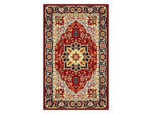 Lyndhurst Red & Black Rug w Border (5 ft. 3 in. x 7 ft. 6 in.)