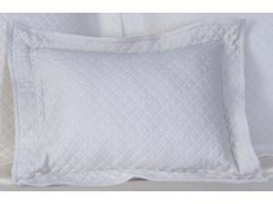Diamante Rectangular Cotton Throw Pillow in White
