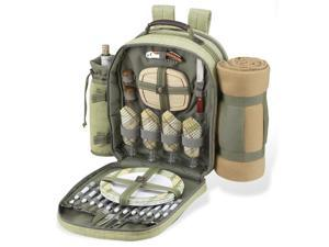 Hamptons Picnic Backpack Cooler for Four w Blanket in Olive Tweed