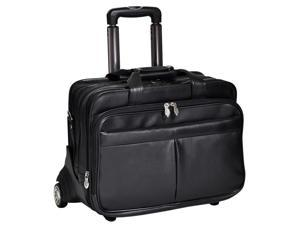 Leather Laptop Case w Detachable Wheel & Handle System in Black