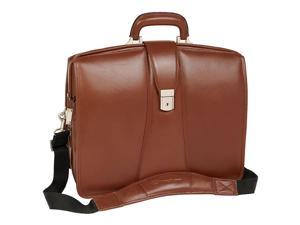 17-Inch Laptop Briefcase w Secure Key Lock in Leather (Black)