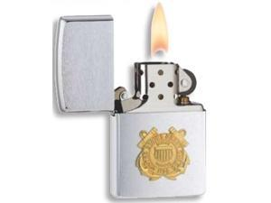 Coast Guard Windproof Lighter in Brushed Chrome Finish (Pouch w Clip - Brown)