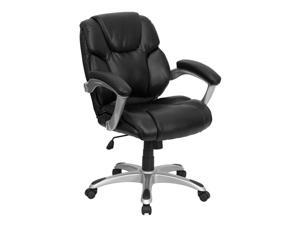 Black Leather Swivel Office Computer Chair