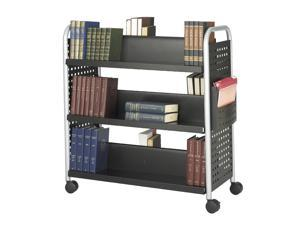 Scoot Double Sided 6 Shelf Book Cart in Black Finish