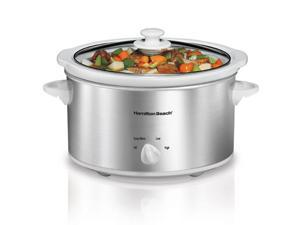 Hamilton Beach - 4 Quart Slow Cooker - White/Silver