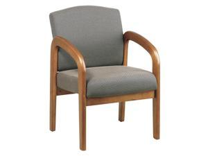 Medium Oak Finish Wood Visitor Chair in Taupe