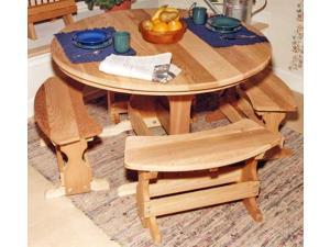 Round Trestle Outdoor Dining Set