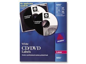 Avery Dennison CD Labels, Laser, 40/Pack, White