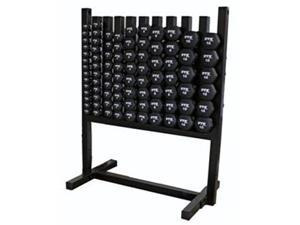 Display Pac Locking Rack and 43 Pairs of Neoprene Coated Dumbbells