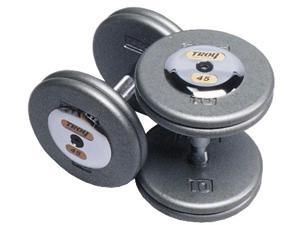 Fixed Pro-Style Dumbbells with Straight Handle and Chrome End Caps - Set of 2 (140 lbs.)