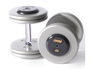 Fixed Pro-Style Dumbbells with Straight Handle and Rubber End Caps - Set of 2 (130 lbs.)