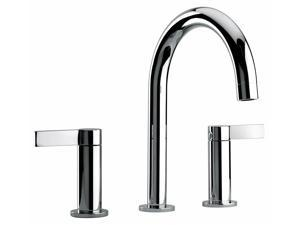 Jewel Faucets Two Lever Handle Widespread Lavatory Faucet w Classic Spout (Brushed Chrome)