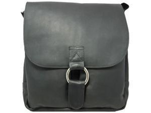 Vertical Laptop Leather Messenger Bag w 2 Open Front Pockets (Cafe)