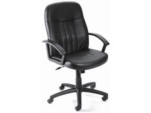 Mid-Back Ergonomic Desk Chair In Black w Arms, Lumbar Support & Adjustable Height