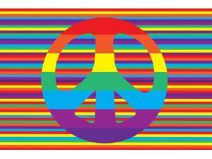 Groovy Peace Kids Rug (29 in. L x 19 in. W (1 lbs.))