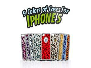 Neverland Deluxe Bling Diamond Chrome Rhinestone Leopard Apricot Hard Case for iPhone 5 (9 colors)