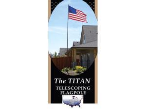 20' Telescoping Silver TITAN Flagpole w/ Flag
