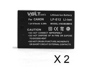 Voltsonic 875mAh Li-Ion Replacement Digital Camera Battery for Canon LP-E12 - 2 Pack