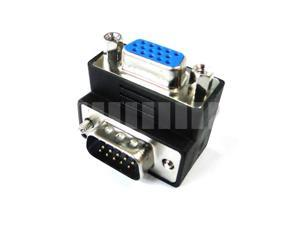 90° Turn ( Right Angled ) VGA D-Sub 15 Pin Male to Female Connector Adapter Converter Extender - OEM