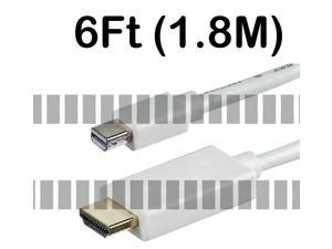 6Ft 1.8M Mini Displayport Mini DP Thunderbolt Male to HDMI Male Long Cable Adapter Converter for Apple Mac iMac Mini Mac ... - OEM