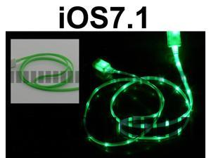 Green Light 3 Ft 8 Pin Lightning Male to USB Male Illuminating Data Sync and Charge Cable for iOS6 – iOS7.0 Apple iPhone ...