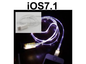Purple Light White 3Ft 8 Pin Lightning Male to USB Male Illuminating Data Sync and Charge Cable for iOS6 – iOS7.0 Apple iPhone ...