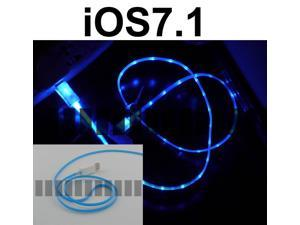 Blue Light 3 Ft 8 Pin Lightning Male to USB Male Illuminating Data Sync and Charge Cable for iOS6 – iOS7.1 Apple iPhone 5S ...