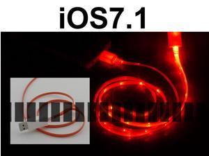 Red Light 3 Ft 8 Pin Lightning Male to USB Male Illuminating Data Sync and Charge Cable for iOS6 – iOS7.0 Apple iPhone 5S ...