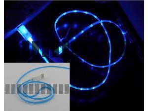 Blue 3Ft 1M Illuminating Light Cable Micro USB Male to USB Male Data Sync & Charge for Samsung Galaxy S5 GS5 Sv G900 S3 S4 ...