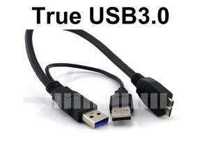 5 Feet USB A Male 3.0 to Micro USB 3.0 with Extra USB A Cable for Power Up Data Transfer for External Hard Disk Drive HDD ... - OEM