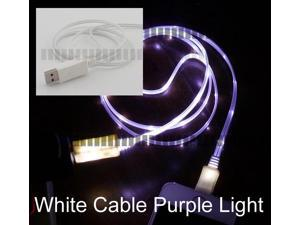 Purple Light White 1M 3Ft Apple 8 Pin Lightning Data Sync and Charge Cable Lightning to USB LED for Apple iPhone 6 Plus 6+ ...