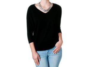 FEMME by Tresics Women's V-Neck Half Sleeve Dolman Top, Black, Size Medium